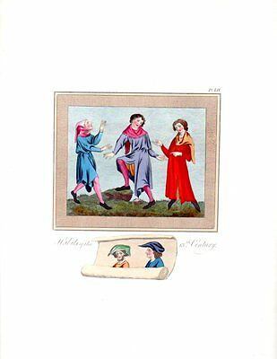 13TH CENTURY HABITS COSTUMES 1840s Medieval Antique Art Print bhn#3