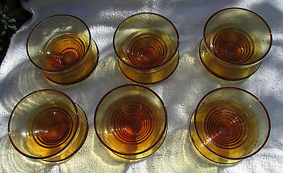 Stunning Set 6 Vintage Stuart Amber Crystal Sweets Grapefruit Dishes