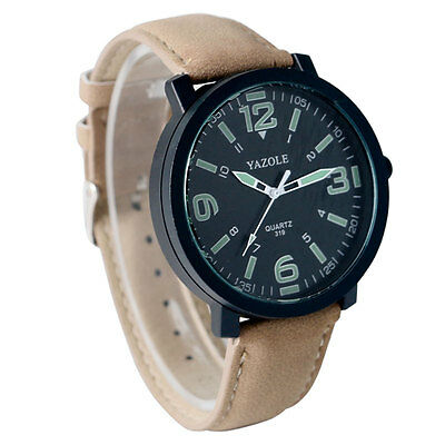 New YAZOLE Fashion Mens Womens Casual Leather Quartz Wrist Watch Luminous Analog
