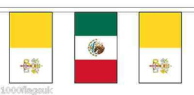 Mexico & Vatican City Polyester Flag Bunting - 5m with 14 Flags
