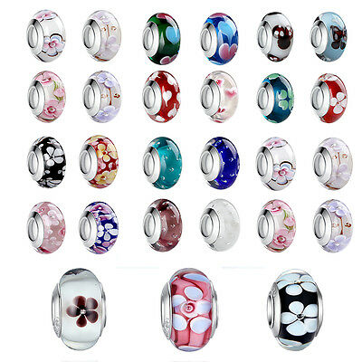 Christmas Day Authentic 925 Silver Murano Glass Beads Charms fit European Chains