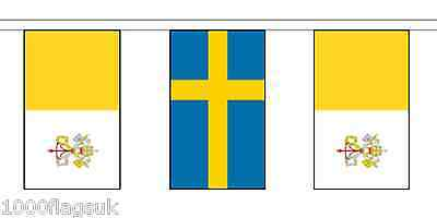 Sweden & Vatican City Polyester Flag Bunting - 5m with 14 Flags