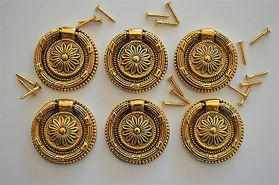 6 Victorian brass sunflower ring pull drawer handle draw desk chest cabinet 2016