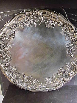 """.800 Silver AUSTRIAN PLATTER VIENNA 428gr Hand Chased Maker SS 19th Cent 11 3/4"""""""