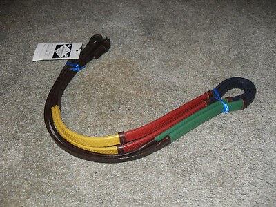New English Multi Color Rubber / Leather Training Reins, 54 Inches Long