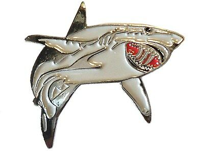 Great White Shark Fish Angling Fisherman Angler Enamel Pin Badge Brooch NEW