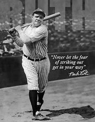 Vintage Replica Tin Metal Sign Babe Ruth baseball no fear bat stike out 1511