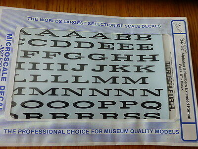"""Microscale Decal #30012 Alphabet & Numbers Extended Roman Pass 8"""" G Scale  Black"""