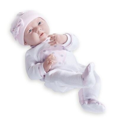 Berenguer * 18055 * La Newborn Real Girl 15 Inch Doll Pink and Gray Heart Romper
