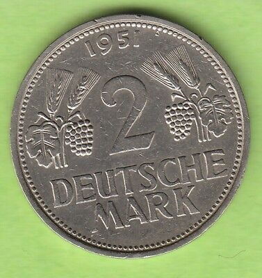 BRD 2 Deutsche Mark 1951 F nswleipzig