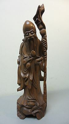 """19th C. CHINESE HAND CARVED WOOD """"IMMORTAL"""" FIGURINE POMEGRANATES & STAFF"""