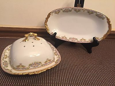 "Limoges ""POY83"" J Pouyat France ~ 3 Piece Butter Dish and Relish Dish"