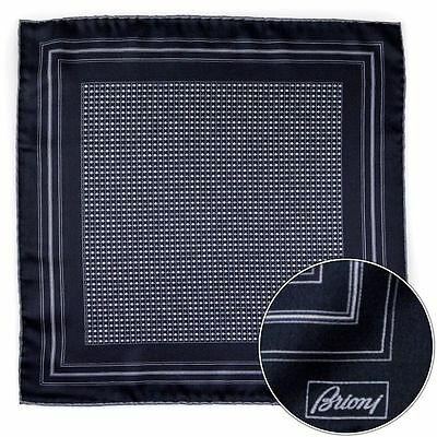 Men's BRIONI Gray Polka Dot Silk Hand Made Rolled Pocket Square Handkerchief