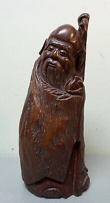 """Nice Antique Chinese Hand Carved Wood """"Immortal"""" Figurine, Pomegrate & Staff"""