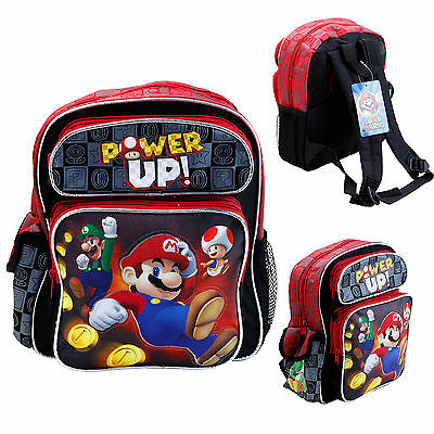 "Disney Super Mario Power Up Kids 16"" Large School Backpack Canvas Book Bag New"