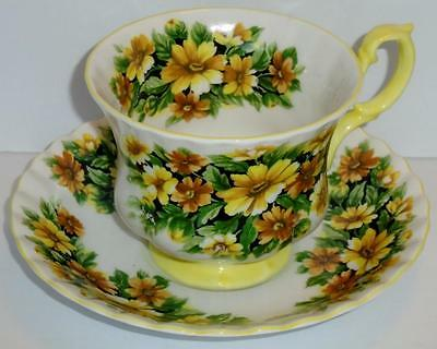 Royal Albert Fragrance Series MARGUERITE Cup and Saucer Set Yellow Flowers