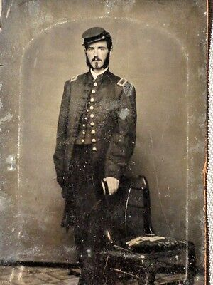 "Civil War Tin Type of a Union Soldier in Uniform 4"" x 2 1/2"""