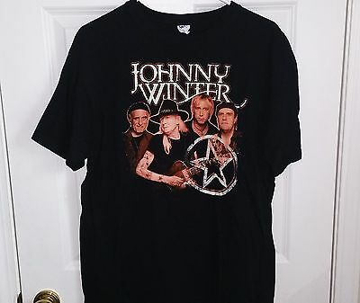 JOHNNY WINTER Classic Blues Legend Band T-Shirt Mens/Adult Size Large L