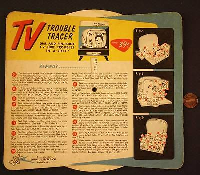 1959 Sperry Co.TV Trouble Tracer wheel premium-Dial & Pinpoint TV Tube Troubles!