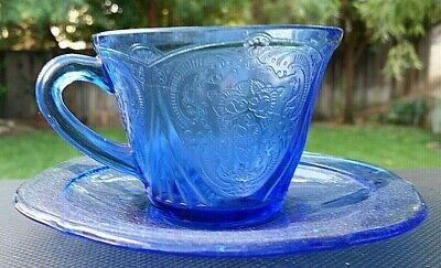 Cobalt Blue Depression Glass Royal Lace Cup with Saucer