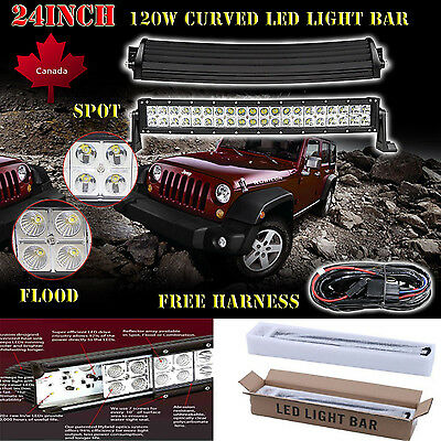 24inch 120w Curved Led Work Light Bar Flood Spot Offroad Driving Jeep SUV ATV 20