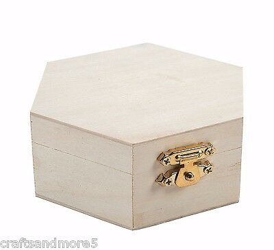 DIY Unfinished Wood Wooden Hexagon Hinged Box - 10cm x 8.5cm x 4cm - New