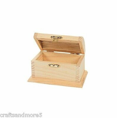 DIY Unfinished Wooden Wood Treasure Box / Chest - 12cm x 6.5cm x 6cm - New