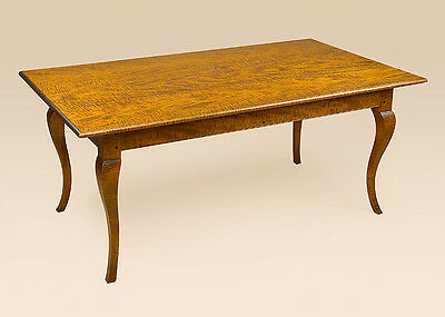 French Country Farmhouse Table - Tiger Maple Wood - Dining Room Farm Table