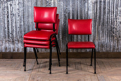 Red Upholstered Stacking Chairs Vintage Padded Dining Chairs Large Quantity
