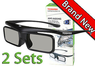 Toshiba FPT-AG04G HD 3D TV Active Shutter Glasses 2 Sets Bluetooth New