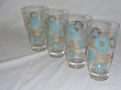 4 Vtg Mid Century Turquoise Gold Starburst Tall Bar Glasses Tumblers