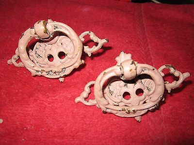 2 Antique Ornate Brass Finger Drawer Pulls