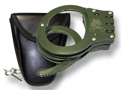 DELUXE  GREEN HINGED POLICE SECURITY HANDCUFFS W CASE & KEYS double lock CUFFS