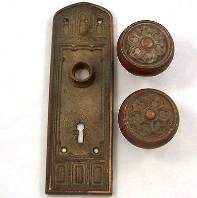 Antique Victorian Gothic 2 Door Knobs and 1 Backplate