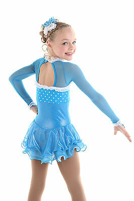 New Competition Figure Skating Dress Elite Xpression Turquoise 1546 CS 6-8