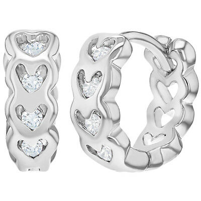 Rhodium Plated Clear CZ Heart Huggie Hoop Girls Earrings 10mm