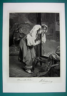 LOVELY GIRL Artist Model Before Miror - Antique Photogravure Print