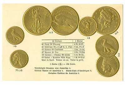 United States US Gold Coins on German Ad Postcard ca 1915 RARE Mint Condition