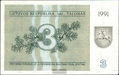 Lithuania Pick-number: 33b mint UNC 1991 3 Talonas