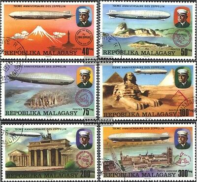 Madagascar 783-788 (complete issue) used 1976 75 years Airship