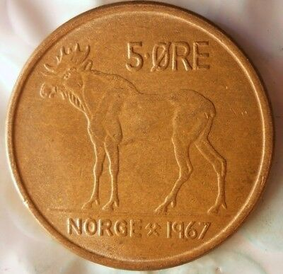 1967 NORWAY 5 ORE - Excellent Vintage Coin - FREE SHIPPING - Norway Bin #4