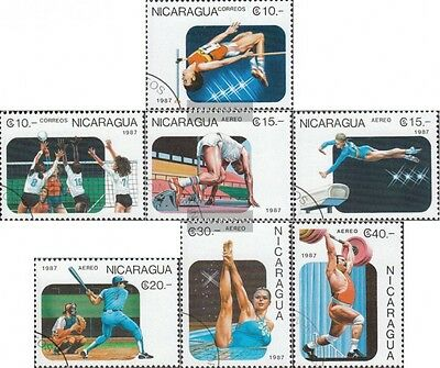 Nicaragua 2807-2813 (complete issue) used 1987 Pan American Gam