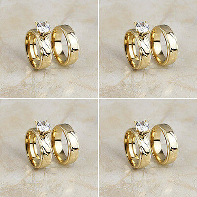 4 Pair/Lot Stainless Steel Gold Plated Band Wedding Finger Rings Set Wholesale