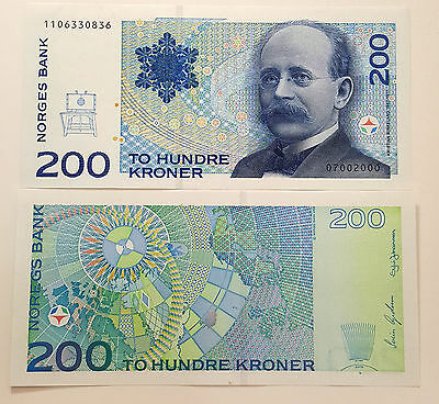 Norway 200 Kroner 2000 UNC Note P. 48c Rarely Offered