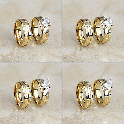 Wholesale Lots 4 Pair Stainless Steel Gold CZ Engagement Wedding Band Rings Set
