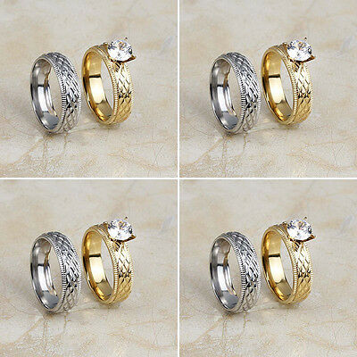 Wholesale Lot 4Pair Stainless Steel Fashion CZ Engagement Wedding Band Rings Set