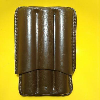 Brown 3 Finger Robusto Cigar Case - Made in USA  - GENUINE AMERICAN LEATHER
