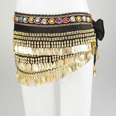 Velutum Belly Dance Hip Scarf Wrap Belt Costume with 248 Gold Coins Black