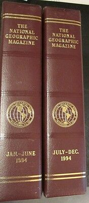 1994 Jan-Dec National Geographic Magazines Complete Set w/ Leatherette Slipcases