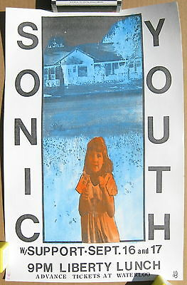 SONIC YOUTH Liberty Lunch AUSTIN 1992 CONCERT POSTER Hand Colored/Numbered MINT